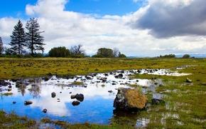 Обои небо, трава, природа, озера