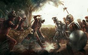 Картинка лес, оружие, арт, ягуар, лужи, битва, индейцы, Assassin's Creed, Brasil