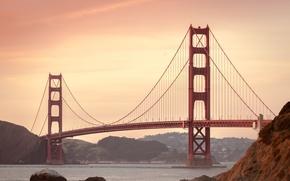 Картинка Сан-Франциско, sea, ocean, bridge, landmark, sanfrancisco, мост Золотые ворота