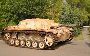 Картинка Ausf, штурмовых, StuG, песчанный, мировой, Второй, времён, Фотография, PzKpfw III, III, самоходно-артиллерийская, установка, танка, война, …