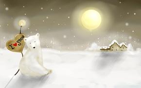 Обои медведь, новый год, Снег, зима