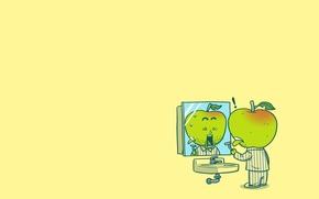 Картинка человек, яблоко, раковина, зеркало, ужас, пижама, бритва, порезался