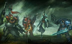 Картинка Warhammer 40000, chaos, space marine, Warhammer 40k, eldar, космодесантники, orc, Eternal Crusade, Long War, ксеносы