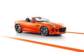 Картинка Jaguar, Машина, Кабриолет, Ягуар, Оранжевый, передок, F-type, Ftype