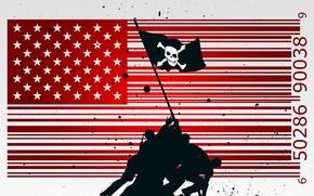Обои флаг, вектор, солдаты, PIRATE NATION, Веселый роджер, США