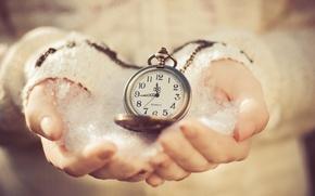 Картинка холод, снег, время, часы, руки, циферблат