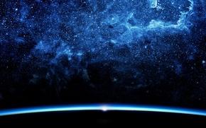 Обои космос, свет, пространство, восход, фантастика, тьма, звезда, планета, горизонт, бездна, туманности, очертания, мироздание, россыпь звёзд