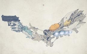 Обои стиль, пистолет, оружие, рука, pistol, детали, weapon, style, 1920x1200, hand, details, биомеханика, biomechanics