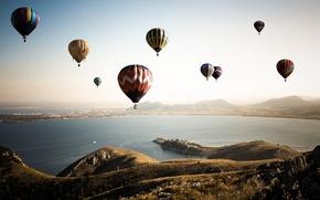 Картинка небо, пейзаж, шары, спорт, залив
