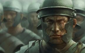 Картинка лицо, доспехи, воин, Солдаты, шлем, шрам, римляне