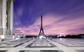 Картинка огни, Париж, площадь, сумерки, Эйфелевая башня