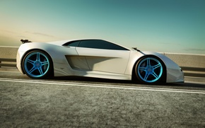 Картинка машина, асфальт, Audi, белая, суперкар