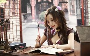 Обои девушка, лицо, волосы, макияж, азиатка, увлечение