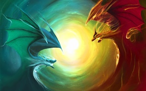 Обои драконы, звезда, противостояние