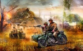 Картинка рисунок, арт, М-72, советский тяжёлый мотоцикл