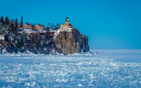 Картинка снег, маяк, Природа, Frozen North Shore