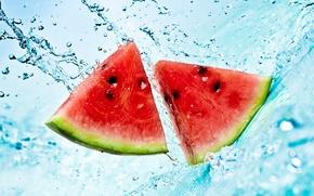 Картинка лето, вода, брызги, арбуз, ломтики, watermelon