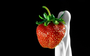 Обои Клубника, сливки, ягода