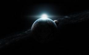 Картинка звезды, восход, луна, планета, бесконечность