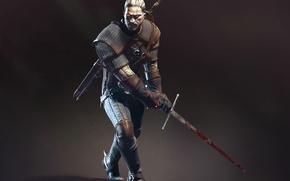 Картинка кровь, меч, Дикая Охота, Арт, Ведьмак, CD Projekt RED, The Witcher 3: Wild Hunt