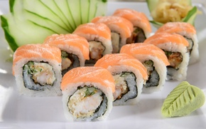 Картинка зелень, rolls, sushi, суши, роллы, японская кухня, fresh herbs, Japanese cuisine, приправа, seasoning