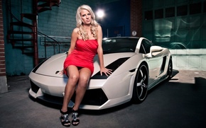 Картинка девушка, Девушки, гараж, Lamborghini, платье, блондинка, белый авто, взглд