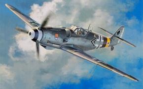 Картинка Messerschmitt Bf 109 G-14, ww2, painting, fighter, airplane, war, art