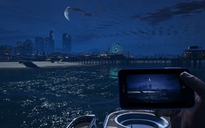 Картинка море, пляж, город, луна, Grand Theft Auto V, Los Santos, Санта Мария