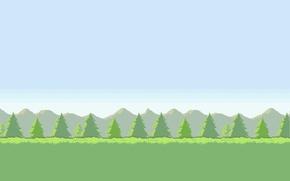 Картинка небо, трава, деревья, горы, Поле, 8-bit