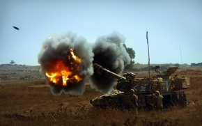 Картинка огонь, установка, самоходная, артиллерийская, гаубица, бронированная