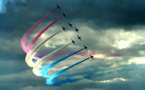 Обои Самолеты, истребители, цвет, шлейф, облака