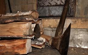 Картинка дрова, топор, баня
