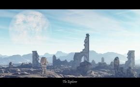 Картинка космос, город, планета, космонавт, руины, The Explorer