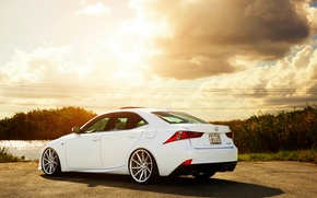 Картинка Lexus, white, vossen wheels, rearside, IS F-sport