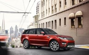 Картинка красный, город., внедорожник, Land Rover, Range Rover