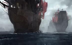 Картинка море, небо, птицы, океан, корабли, арт, паруса, мачты
