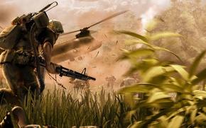 Картинка смерть, взрывы, лента, патроны, пулемёт, снаряжение, война.солдаты.вертолёт