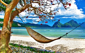 Картинка summer, grass, beach, sky, sea, ocean, landscape, nature, mountains, clouds, exotic, hammock, tropical