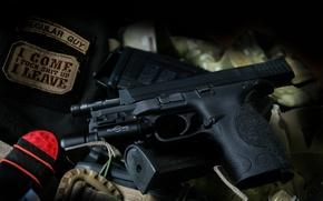 Картинка пистолет, оружие, фонарик, Smith & Wesson, M&P9