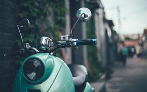 Картинка зеленый, стиль, ретро, фара, мопед, руль, мотороллер, retro, vespa, stile, веспа