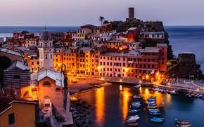 Картинка побережье, здания, Италия, панорама, Italy, Вернацца, Vernazza, Cinque Terre, Чинкве-Терре, Лигурия, Liguria, Gulf of Genoa, ...