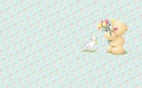 Картинка лето, цветы, настроение, минимализм, букет, арт, мишка, тюльпаны, барашек, детская, Forever Friends Deckchair bear