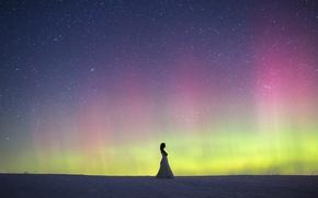 Картинка woman, winter, snow, northern lights, wedding dress, aurora borealis