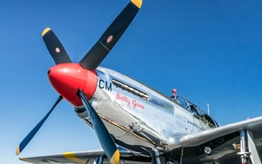 Картинка ретро, самолет, Mustang, TP-51C, Betty Jane