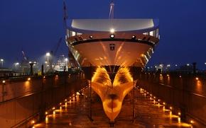 Картинка ночь, lights, порт, док, судно, прожекторы, ship, Bore sea, dry dock, anchores