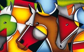 Картинка line, horses, color, face, geometry, composition, Figure