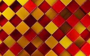 Картинка желтый, красный, текстура, квадраты