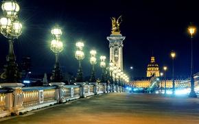 Картинка свет, ночь, город, люди, Франция, Париж, здания, освещение, фонари, Paris, архитектура, France, Мост Александра III, …