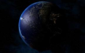 Обои огни, ночь, земля, планета