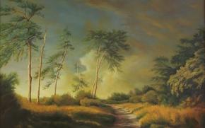 Картинка трава, деревья, пейзаж, природа, заросли, дорожка